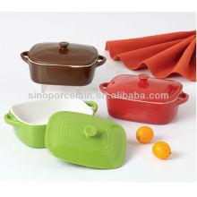Plato de cerámica cuadrado con tapa para BS12074