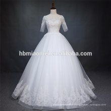 Vestido de casamento zhongshan cor frisada pesada de manga curta de renda curto com comprimento do assoalho