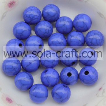 Spacer Charm 6MM Acrylic Solid Round Beads Blue Color Crack Beads