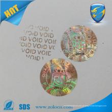 Pequeno adesivo de holograma redondo com design personalizado adesivo de etiqueta de mudança de cor de ouro VOID