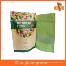 Guangzhou factory OEM stand up kraft paper reusable coffee bag with printing