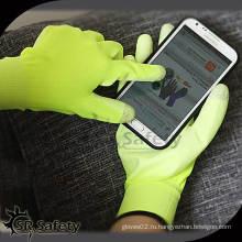 SRSAFETY 13 калибр hi-viz с покрытием из желтого нейлона на пальмовых перчатках / рабочая перчатка / защитная перчатка