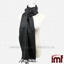 Yarn Dyed Black Fringe Wool Scarf