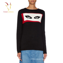 Suéter de lana de punto de cachemira de moda de mujer con ojos