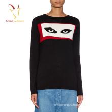 Женщин Кашемировый мода вязаный шерстяной свитер с глазами