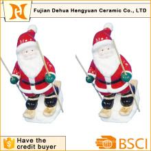 Керамическое катание на лыжах Санта Клаус для украшения Кристам