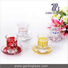 Vaisselle en verre Ensemble de coupe et de soucoupe en verre couleur en verre