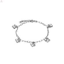 Bracelet plaqué de platine plaqué de cuivre dames, bijoux de bracelets de charme de breloque en argent