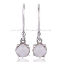 Gemstone de cristal natural artesanal 925 Jóia de brinco de prata