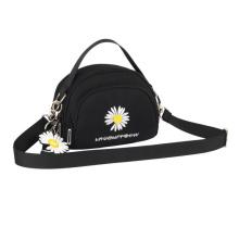Newest fashion mini embroidery daisy shoulder bag young lady's party handbag high quality canvas crossbody bag