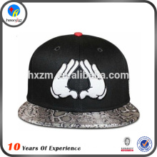 Whloesale custom snake leather 6 panel acrylic hat for promotion in 2014