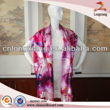 Women Gril Flower Printed Long Silk Dress With Scarf And Shawl Wholesale Of Pashmina Shawl Suppliers