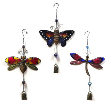 3 Asst Garden Metal Hanging Windbell Craft with Stained Glass