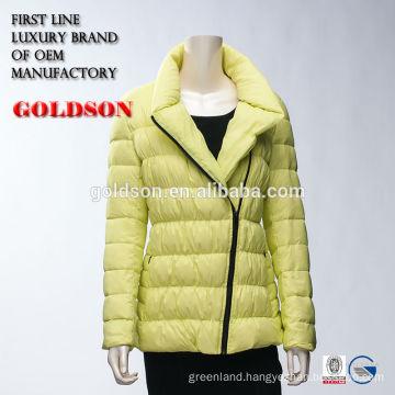 Female slant zipper yellow goose down jacket with elastic thread