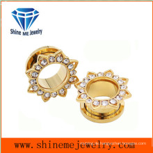 Blütenform Gold Zircon Piercing Tunnel Ohrstecker
