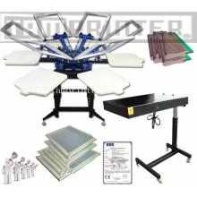 Máquina de impresión de pantalla TM-R6 2.14 * 2.14 * 1.15 M barato Manual camiseta rotatoria de 6 colores con secadora Flash