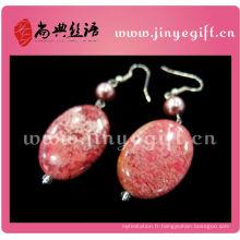 ShangDian Craft Jewelry Belle pierre naturelle Druzy Dangle boucle d'oreille