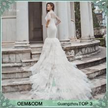 2017 two pieces heavy beading cape sweetheart neck mermaid muslim wedding dress