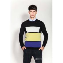 Rib Knit Round Neck Men Intarsia 100%Cashmere Sweater