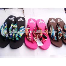 EVA flip flops, high heel flip flops, fabric straps flip flops