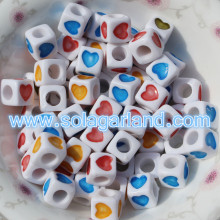 7MM Rainbow Heart Cube Beads Spacer Loose Beads Jewelry Making