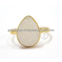 Druzy diseñador de piedras preciosas hechas a mano de joyería de plata