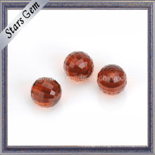 Garnet Red Color Faceted Cut Round Glass Beads