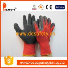 13G Red Nylon Liner Black Latex Crinkle Finish Palm Coated Working Gloves Dnl111