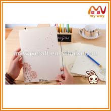 Livro de escola de dente-de-leão branco puro, caderno de papel em branco volume barato