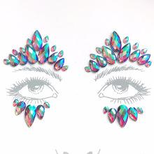 Benutzerdefinierte günstige selbstklebende Strass Crystal Face Sticker