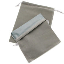 New design embroidery black gift customizable velvet drawstring bag