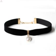 Le dernier collier noir de perles de velours de conception, collier de collier de pendentif de perle de velours noir d'or