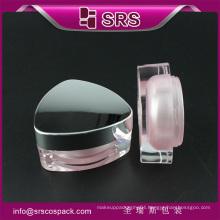 Plastic pink color empty acrylic cosmetic jar 15g