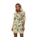 Half Sleeve Flower Printed V-neck Chiffon Fashion Dresses
