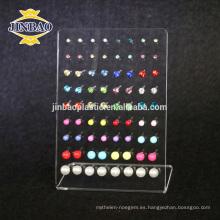 Jinbao Clear display acrílico pendiente standmall joyero display riser