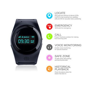Reloj personal del teléfono del GPS para el seguimiento de la gente mayor