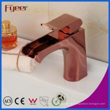 Fyeer moderne Keramik Core Valve Rose Gold Wasserfall Becken Wasserhahn