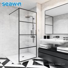 Seawin DDP Service Bath Tempered Safety Glass Satin Black Frame Partition Shower Door