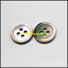 Black Mother of Pearl Shell Button with a Rim