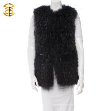 2016 La chaqueta real de encargo más nueva de la piel de las mujeres del mapache con una correa de cuero