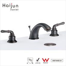 Haijun Super September Purchasing Lavatory Black Color Deck Mounted Hot Cold Water Mixer Taps