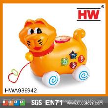 Cartoon animais puxar a linha e ir brinquedo brinquedos jogo definir para o bebê movendo brinquedo gato