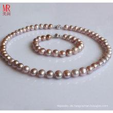8-9mm Lavendel Fast runde Süßwasser Perle Halskette Set
