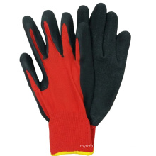 Red Polyester Crinkle Latex Coated Construction Working Gloves
