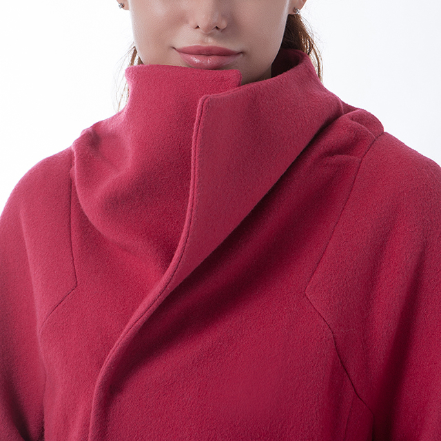 Cashmere long overcoat fashionable red