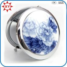 Fabriqué en Chine Miroir de poche en métal porcelaine bleu et blanc