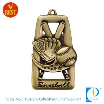 Высокое качество изготовленный на заказ медный Штемпелюя античное золото Бейсбол медаль с прорезями
