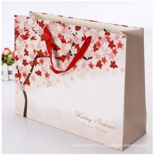 Promotional White Card Square Bottom Paper Bag, Advertising Gift Bags