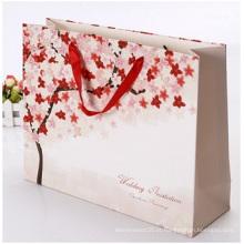 Saco promocional de papel com fundo quadrado de cartão branco, sacolas para presentes de publicidade