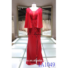 1A1049 Exquisite vestido vermelho Junoesque Mantle Beading Column Prom Dress Evening Dress